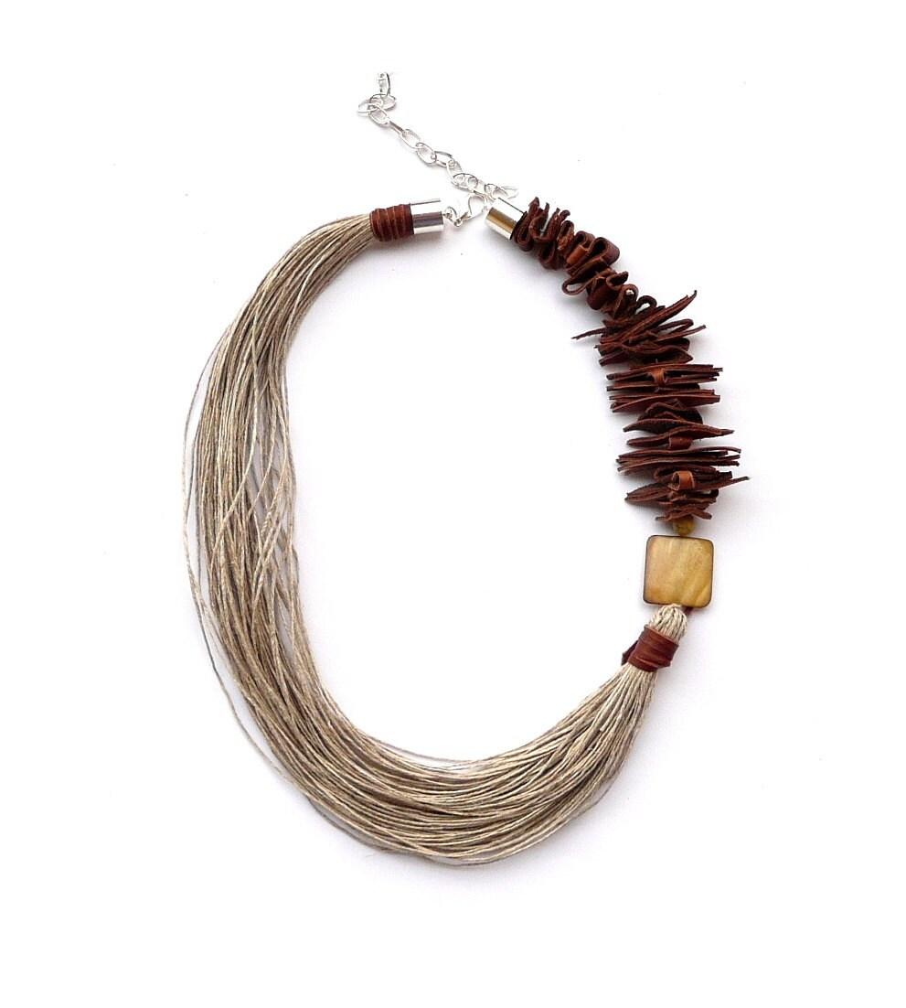 Linen Jewellery: Linen Necklace Necklaces Jewelry Eco Natural Linen Art Linen
