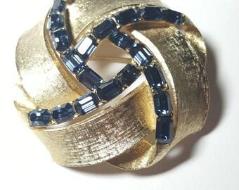 Vintage Large Royal Blue Rhinestone Pin Brooch Signed Lisner
