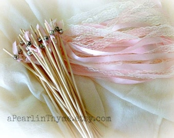 Soft Pink and Imported Lace-Wedding Wands-Perfect for the Vintage Wedding or Baby Shower!