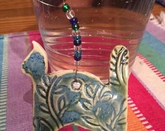 ornament Cat ceramic with beads