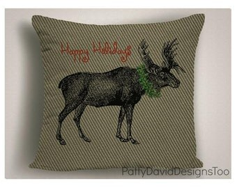 Christmas Decorations For Cabin, Burlap Holiday Pillows, Unique Christmas Pillows, Christmas Throw Pillow Covers
