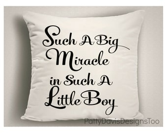 Nursery Pillow Such A Big Miracle in Such a Little Boy, Boy Nursery Pillow Covers, Baby Boy Nursery, Baby Shower Gift, Nursery Decor