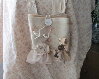 Eco Pouch Bag Necklace Shoulder  Upcycled Handbag one of a kind undoit