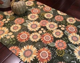 """Sunflower Table Runner - 40"""" Table Runner - Fall Table Runner - Autumn Table Runner - Harvest Table Runner"""