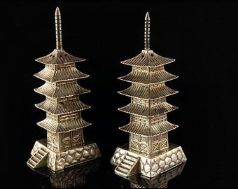 2 Antique Chinese Pagoda 950 Sterling Silver Figural Shakers