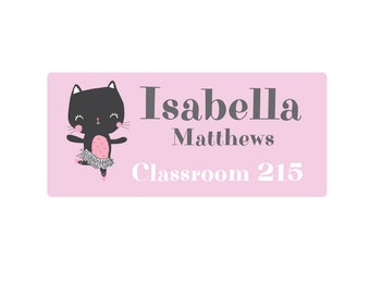 Ballerina Kitten DIY Printable Name Label