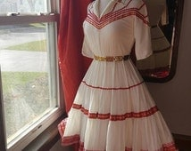 1950's 50's Squaw Mexican Patio Vintage Dress Square Dance Full Swing Skirt Small to Medium W/ Concha Belt 1950s 50s White and Red Festive