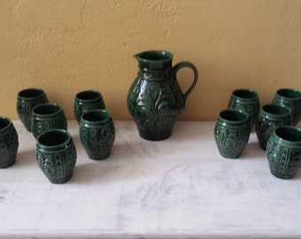 Marzi & Rémy 3320 and 3321: wine or punch set with pitcher and 12 cups, W. Germany pottery, green glazing, mid-century