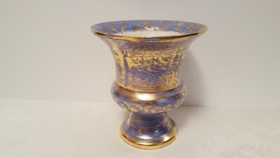 Stangl Cobalt Antique Gold Handmade 6'' Vase #3987