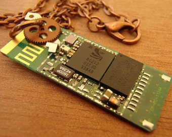 Upcycled Circuit Board Pendant Necklace- Funky, Fun, Circuitpunk, Circuitboard, Techie Statement Jewelry!