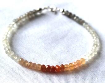 Faceted multi-colour moonstone gemstone bracelet, June birthstone, bridesmaids, brides