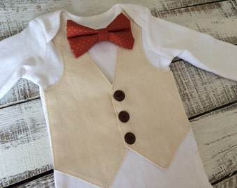 Baby Thanksgiving Outfit - Linen Vest, Burnt Orange Bowtie- Baby Boy Birthday Outfit- Baby Formalwear- Baby Wedding Outfit