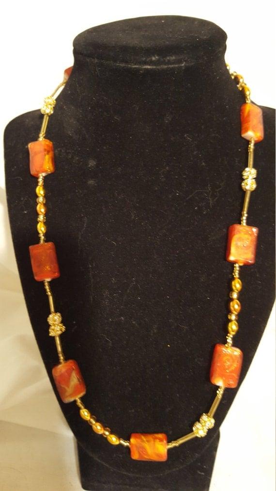 Gold and rhinestone orange glass bead necklace free shipping