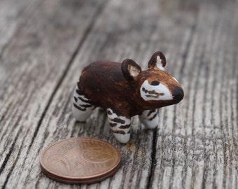 miniature okapi, micro okapi, clay okapi, okapi figurine, animal totem, terrarium decoration, terrarium animal figurine, doll house figurine