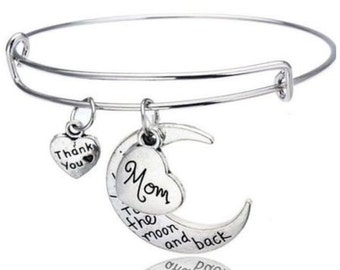 MOM BRACELET- I Love You to The Moon and Back-Thank You Mom Jewelry- Perfect Mom's Gift and Mother's Day!!