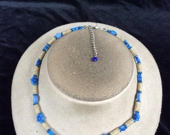Vintage Blue Floral Beaded Necklace