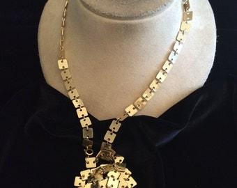 Vintage Long Goldtone Flat Chain Necklace