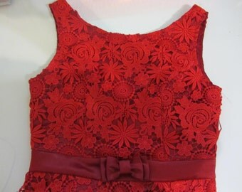 1950S Style Red Lace Wiggle Dress