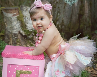 Pink, Gold and Aqua Fabric Scrap Tutu and headband set / First Birthday Tutu / First Birthday Outfit /
