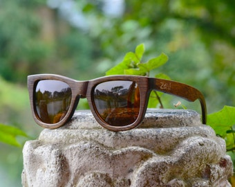 Wood Sunglasses. Wayfarer. Mens Sunglasses. Womens Sunglasses. Eco-Friendly Bamboo. Pilarized