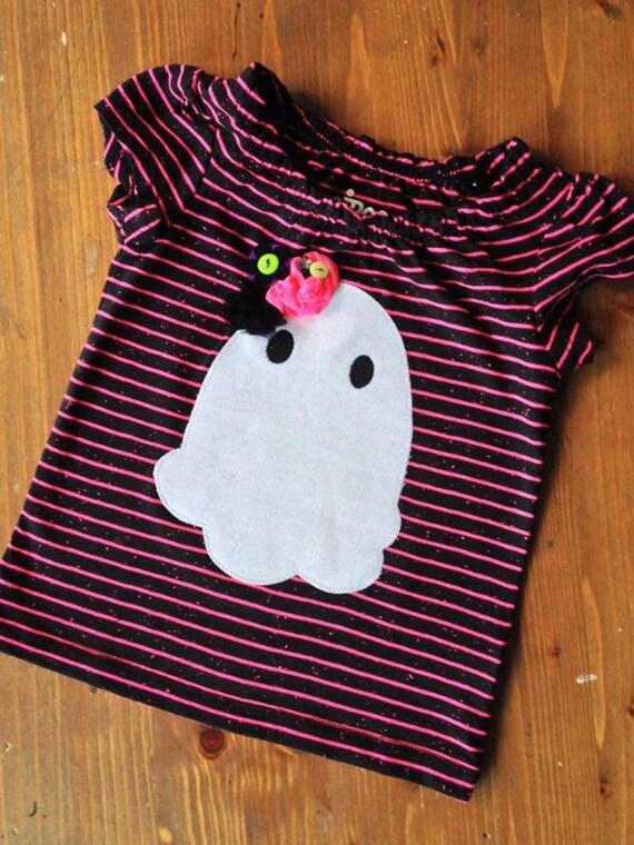 Halloween Girly Ghost with Flowers Girl Tee, Girl Shirt, Dress