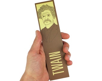 Mark Twain Bookmark! America, Adventures of Huckleberry Finn, Tom Sawyer
