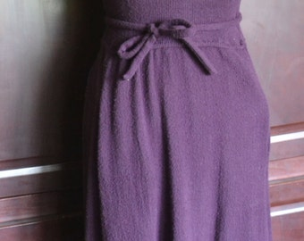 Vintage 70's Eggplant Purple Ribbed Knit Wool Sleeveless Midi Dress By Roncelli Size 8