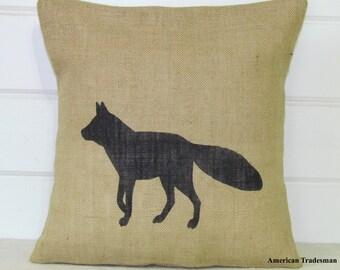 Fox Pillow- Burlap Pillow, Woodland Nursery Decor, Lodge Decor, Cabin Decor, Fox Silhouette, Animal Pillows