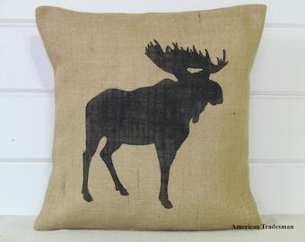 Moose Pillow- Burlap Pillow, Woodland Nursery Decor, Lodge Decor, Cabin Decor, Moose Silhouette, Animal Pillows,