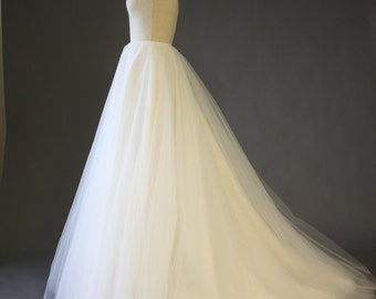 Bridal Tulle Skirt with Sweep Train