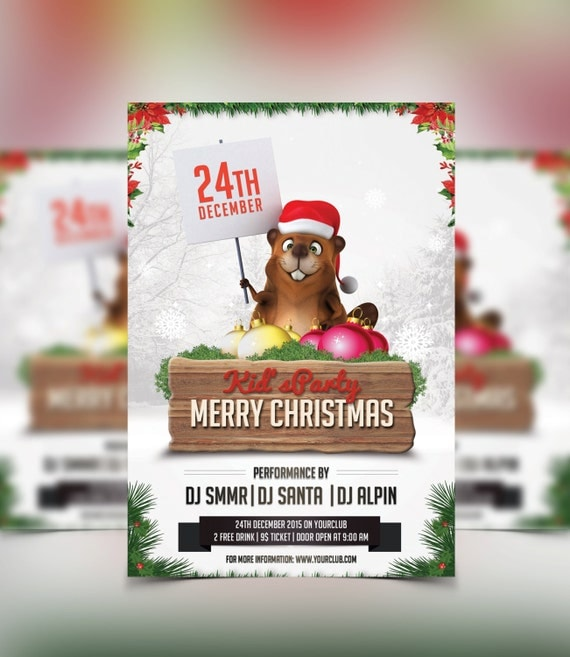 christmas party invitation template photoshop template. Black Bedroom Furniture Sets. Home Design Ideas