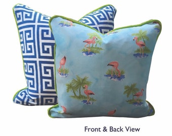Flamingo + Greek Print Pillow Cover