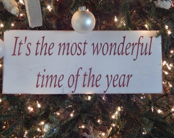Handmade Distressed Christmas Sign It's the most wonderful time of the year