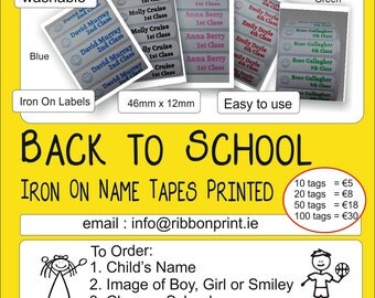 Back to School Name Tags- iron on labels