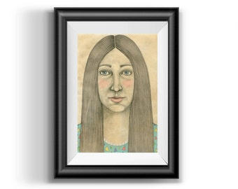 Illustration Art Print, Girl illustration, Girl drawing, Girl with long hair, Pencil Drawing, Wall Art, Home Decor