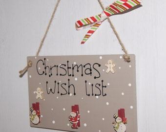 Christmas Wish List, Christmas list plaque, Wishlist plaque, christmas sign, festive decor, the holidays