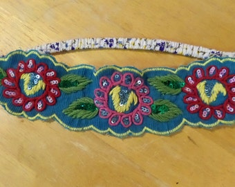 embroidered flower headband
