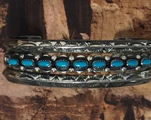 Navajo Bell Trading Post Silver Turquoise Bracelet