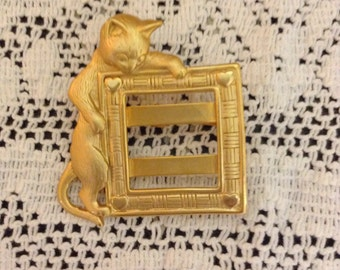 Gold Toned Jonette Jewelry Cat Brooch Pin With Scarf Slide