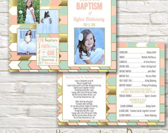 LDS Baptism Program - Itinerary - 8.5x11 folded in half - Will Customize and Email within 24 hours