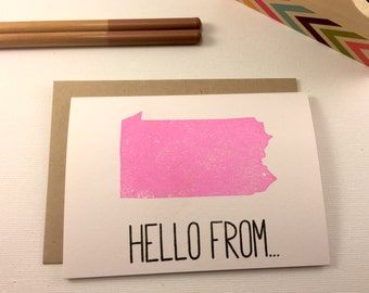 Pennsylvania - State Love Stationery - Four Bar Cards - Thank You, Hello From, With Love