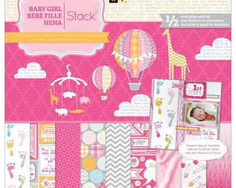DCWV Baby Girl Stack, Die Cuts with a View Paper Stack