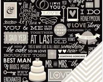 American Crafts Wedding Cardstock - Wedding Phrases