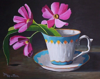 "One Tea Cup With Flowers, Still Life Painting, Acrylic Painting Original, 9"" by 12"", Fine Art Painting, Gift"