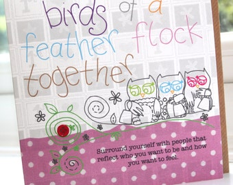 "Personalised Handmade Greeting Card ""Birds Of A Feather"" by Charlotte Elisabeth PP10"