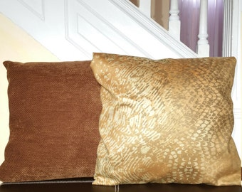 Pillow Covers: Brown, Dark Grey Chenille, Gold Abstract Micro-suede, Magnolia Chocolate Brown Lattice Décor Pillow Covers