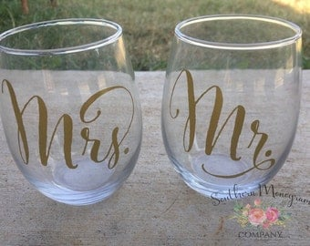 Mr. And Mrs. stemless wine glasses, wedding wine glasses, wedding gift, personalized wedding gift, wedding toast, wedding cup
