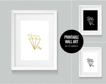 DIAMOND printable poster in 3 colors