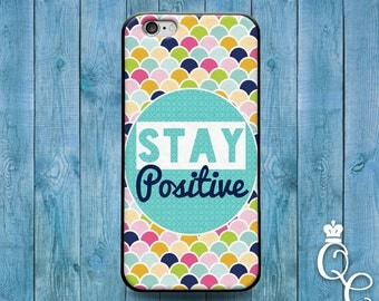 iPhone 4 4s 5 5s 5c SE 6 6s plus iPod Touch 4th 5th 6th Generation Cute Stay Positive Quote Life Cool Teal Mint Colorful Shell Scales Case