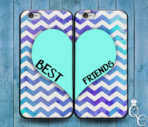 iPhone 4 4s 5 5s 5c SE 6 6s 7 plus iPod Touch 4th 5th 6th Generation Cute Best Friend Heart Mint Green Chevron Pattern Custom Cover Bff Case